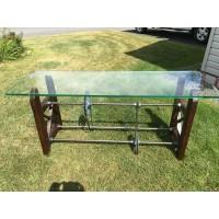 Table d'entrée vitrée style industrielle Be Legend (100443)